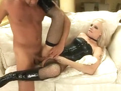 Horny blonde slut in black boots brings her anal fantasies to reality