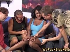 Big tittied black slut gang banged