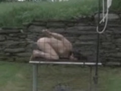 Outdoor SADOMASOCHISM Cage Locked Enema Bondman