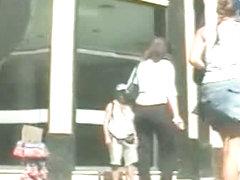 Heavenly juicy asses in an upskirt voyeur spy cam video