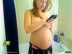 Showing my big preggo belly