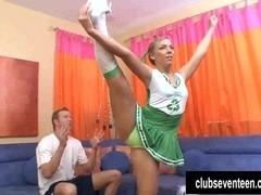 Pigtailed cheerleader take cock