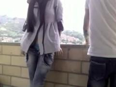Excited GF Sucks Her Boyfriends Coarse Shaft On Balcony
