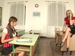 Two horny minxes nailed in the classroom