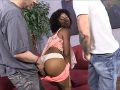 Pretty afro haired ebony Misty Stone fucked and facialized