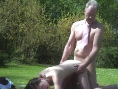 Brunette pornstar outdoor with cum on tits