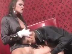 Horny lesbo gets pants stuffed in mouth and pussy rubbed