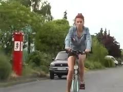 Redheaded babe flashing her pussy before fucking hard