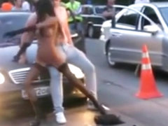 Girl strips and dances on a guy