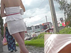 Sweet upskirt pussy covered with gentle white panties
