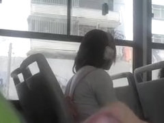 Dude plays with dick in bus