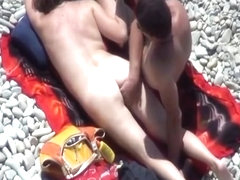 Small breasts nudist and man