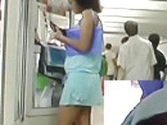 Cute blue summer costume upskirt