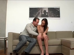 Tattooed brunette teen El Storm and George Uhl in action