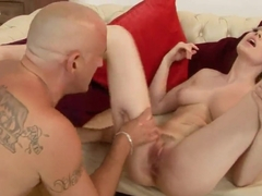 Lily LaBeau and her bald lover in a hot and hard oral interlude