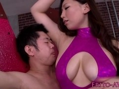 Nippon milf sucks cock and loves cum on tits