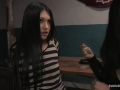 Beautiful brunnette Jade Indica is bound and fucked in a crowded bar