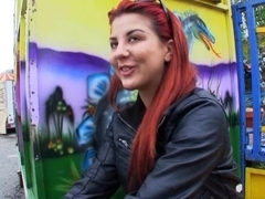 European red hair chick Sophia Wild swallows strangers cum