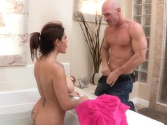 Buxom milf with plump hairy pussy fucked by her son's best friend in the bathroom