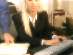 Secretary fantasy sex in stockings and a garter