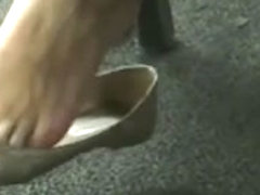 Candid Teen Shoeplay Dangling Close-Up  College Library Feet