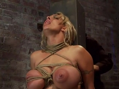 Holly Halston all American MILFHer massive breasts oiled watered & bound, she can't stop cumming