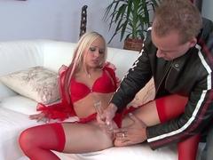 Hottest pornstar Carla Cox in exotic lingerie, blonde porn video