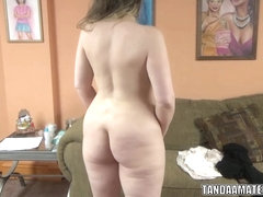 Curvy wife Chasity Vaughn sucks dick for her video debut