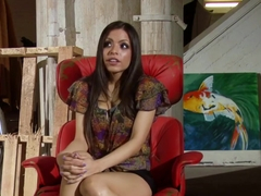 Boobtastic Yurizan Beltran spreads her legs on the massage table