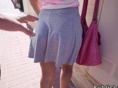 Latina flsahing tits on the streets