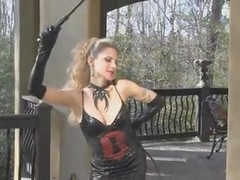 Outdoor whipping by blonde mistress