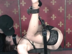 Caned breastbonded submissive rides vibrator