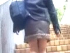 Schoolgirl got her panties shown during skirt shark attack