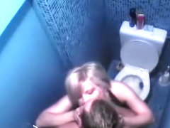 Voyeur caught couple fucking in the toilet