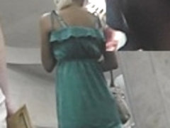 Agreeable upskirt blond hotty in green