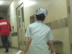 Cheated Japanese nurse under panty sharking