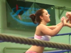 Jenna Lovely and Liza del Sierra in the wrestling ring