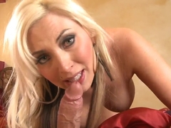 Extremely sexy blonde milf wakes up her lovely husband with sweet fucking
