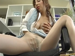 Mirai fucking in office clothes and getting cum on tits