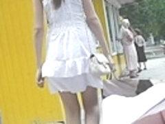 Legal Age Teenager wearing sexy polka dot panty upskirt