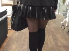 Lycaena shopping and flashing in latex miniskirt