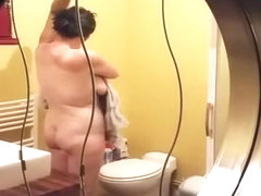Chubby mature wife spied in bathroom