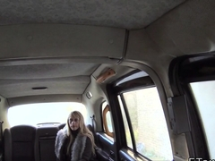 Blonde deep throats huge cock in cab