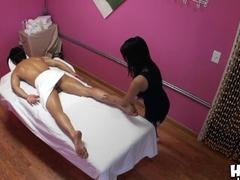 Mya makes a sensitive massage for that lucky fellow