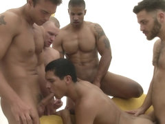 Rocco Reeds orgy at a gay dating game