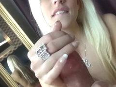 Blonde teasing edged handjob with precum and cumshot