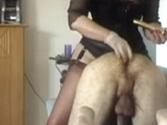 Slave adores the fetish nylons of his mistress