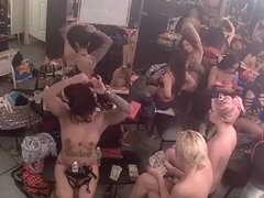 Strippers in change room counting money