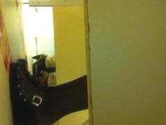 Lewd hunter spying amateur in wc on his voyeur camera