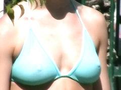 Her bikini gets transparent when it's wet